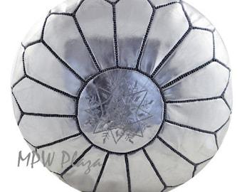 Sale - Metallic Silver Moroccan Pouf / Ottoman