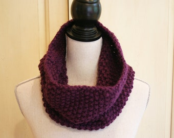 Hand Knit Cowl / Snood  / Purple Infinity Scarf /Knitted Cowl / Purple Cowl