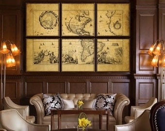 """Map of Americas 1700, Vintage map of North America, S America, 6 sizes up to 90x60"""" (225x150 cm) in 1 or 6 parts - Limited Edition of 100"""