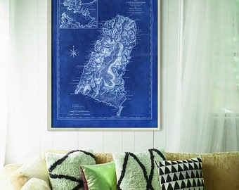 "St Lucia map 1775, Old map of Saint Lucia Island, 4 sizes up to 36x48"" (90x120 cm) Nautical chart, also in blue - Limited Edition of 100"