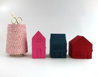 Village Paper Craft Kit #2: Make your own tiny paper houses - Paper Gift Boxes, Tiny Paper House, Gift for Her, Gift for Him, Papercraft kit