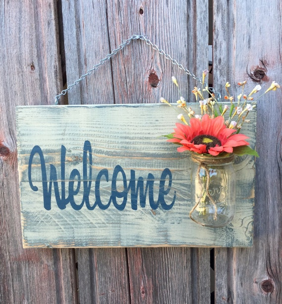 Rustic Outdoor Welcome Sign in blue/white - Wood Signs - Front Door Sign - Rustic Home Decor - Wedding Gift - Home Decor - Custom Sign