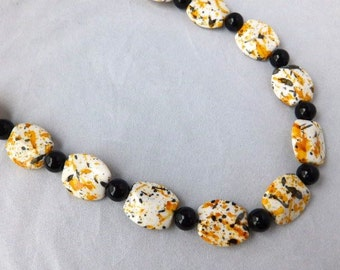 Gift For Eid, Gift For Wife, Gift For Woman, Necklace Gift For Her, Long Statement Necklace, Beaded Necklace, Orange and Black Necklace