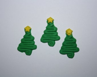 Fondant Christmas Tree Fondant Christmas Fondant Cupcake Topper Christmas Cupcake Topper