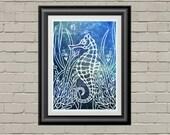 Personalized Print - Original Papercut - Custom Print - Seahorse Print - Nursery Decor - Seahorse Art Print - Nautical Nursery