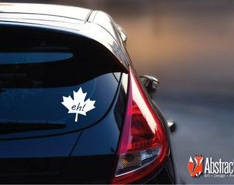 Canadian Eh Car Decal - Maple Leaf Car Sticker - Car Vinyl