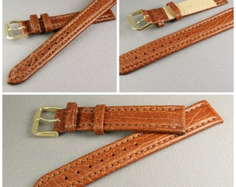 Watchstrap light brown genuine leather, Leather watch band 14 mm for brown wood watches or classic watches, Genuine leather watch strap