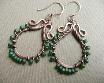 Copper Hoop Earrings, Wire Wrapped Green Beads