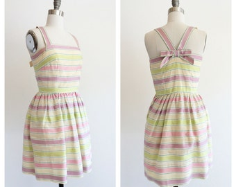 Vintage 1960's Green and Lilac Pastel Party Dress with Stripes XXS