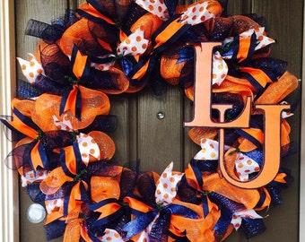 Langston University wreath, sports wreath, college football wreath,
