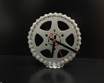 Up-cycled metal bicycle parts clock