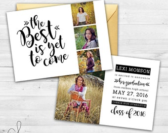 Senior Graduation Announcement | Black and White Graduation Invitation | The Best Is Yet to Come | Graduation Invitation| Minimalist