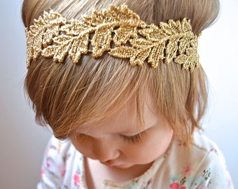 Gold Leaf Lace Embroidered Elastic Headband