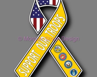 Support Our Troops Yellow Ribbon Vinyl Decal