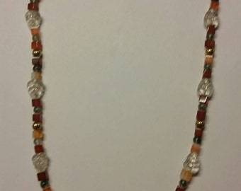Stone and Glass Necklace Beads Boho Jewelry