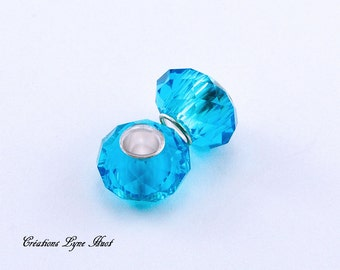 Choose 2 or 5 Pearls of Murano glass faceted charms European style ! Light Blue color !