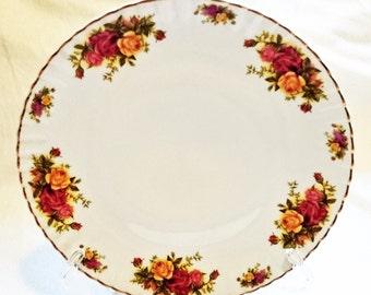 Vintage CROWN REGAL Dinner Plate Rose Pattern Porcelain Curtea de Arges Romania Entrée Plate