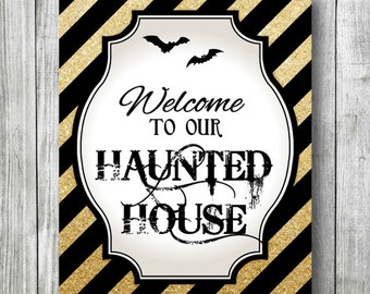 """HALLOWEEN Haunted House Decor Picture, DIGITAL FILE Poster. 5x7"""" 8x10"""" & 11x14"""" included, Modern Design, October Decor, Printable File Only."""