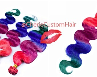 Balayage Dip Dye 8A Remy Dip Dye Ombre Balayage Clip In Human Hair Extensions Multi  Rainbow Pink Plum Blue and Green