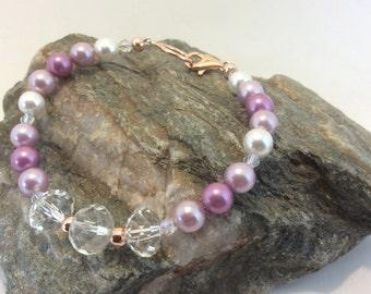 shell pearl and swarovski crystal bracelet