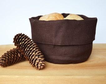 Linen bread/storage basket -Chocolate/dark brown natural linen bread serving basket