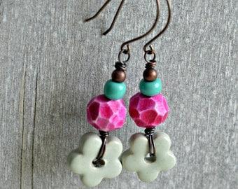 Faceted Bloom Earrings, handcrafted polymer clay earrings