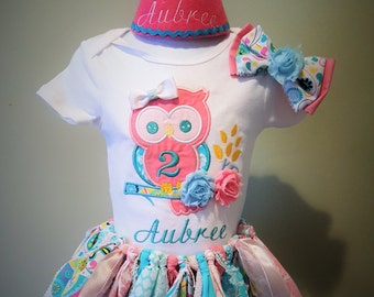 Shabby Owl Birthday Outfit, Shabby Chic Owl Fabric Tutu Outfit,Owl Embroidered Birthday Outfit with hair bow and birthday Hat
