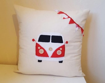 Splitscreen Volkswagen Campervan Splitty cushion. Handmade. Gift, present camping, bunting