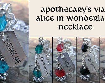 Silver plated Steampunk Apothecary's vial bottle necklace - Drink me Alice in Wonderland necklace