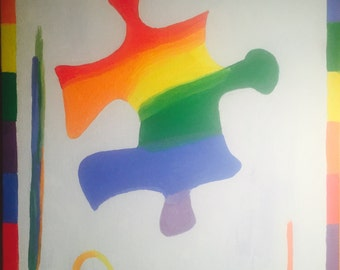 Autism Awareness Puzzle Piece Painting