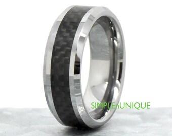 tungsten carbide wedding band mens tungsten ring mens wedding band mens promise tungsten - Carbon Fiber Wedding Rings