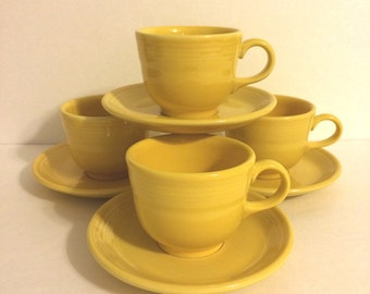 Vintage Yellow Fiestaware Cups & Saucers