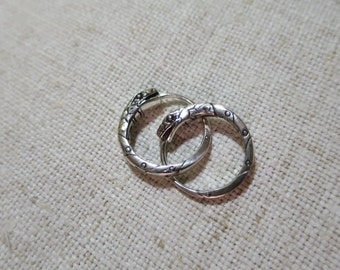 Ouroboros pair of earrings 0.7 inch (18 mm) sterling silver