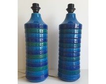 Pair of Bitossi lamp bases Italy with Blue Glaze Collectible Italian Pottery Aldo Londi Raymor Mad Men Base Vase