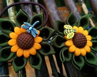 Sunflower hair band & hair clip for a little ladies