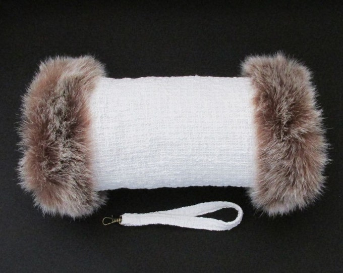 Linton Tweed Ivory Hand Muff with Brown Faux Fur Trim
