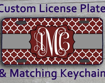 Custom Monogrammed personalized license plate Frame Key