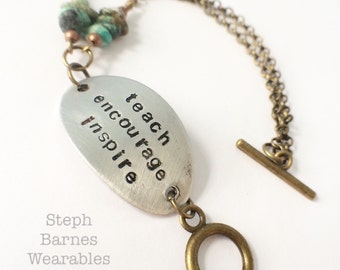 Teacher bracelet in pewter with African turquoise detail