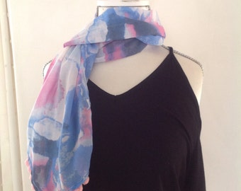 Scarf - Watercolour print pastel blue and pink scarf