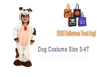HALLOWEEN COSTUME DOG Toddler's 3T-4T White with Brown Spots Jumpsuit Rainbow Girl Boy