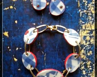 Handmade french broken china bracelet and earrings