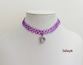 Purple Tattoo Stretch Choker Necklace Initial D Charm Crystals Cute Gift Birthday