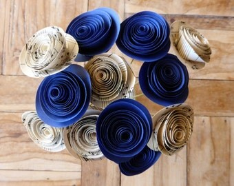 Paper Flower Posy - 12 Blue and Sheet Music Flowers