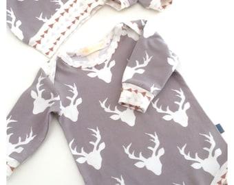 Newborn gift set (0-3 months), baby vest, knotted hat, baby mits, baby clothes, baby gift, baby shower gift, stags, elks