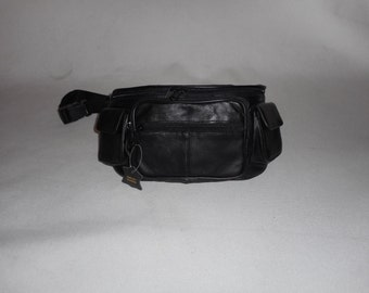 1 Leather fanny pack with two side hook and loop closure pockets ,Lambskin Leather,extra large bag