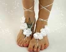 Floral Barefoot Jewelry, Handmade Flowers, Barefoot Sandals, Stretch Lace, White & Color Options, bride shoes, beach wedding, bridesmaids