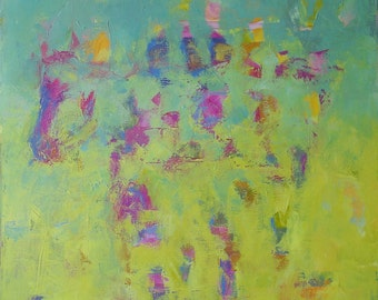 "Original Colorful Abstract Oil Painting 24"" x 24"" x 1 1/2"""
