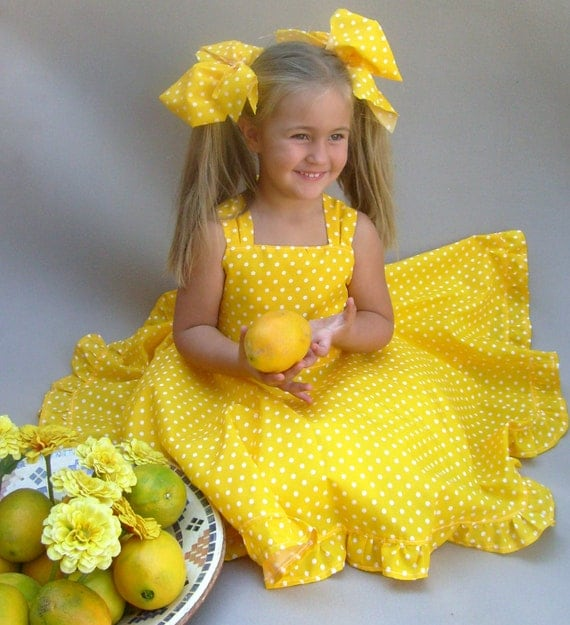 Yellow girls dress Polka dot dress Toddler twirl dress