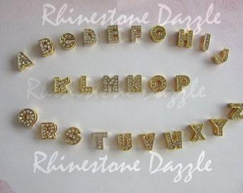 26pcs Gold Rhinestone 8mm Letter Slide Charms, 8mm Alphabet Slide Charms, Gold Slider Charms, DIY personalized bracelet, DIY Custom gift