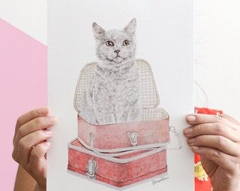 Bristish Shorthair Illustration, Cat Portrait Illustration, Cat Pencil Drawing, Cat In Vintage Suitcase, Travelling Cat Art Print